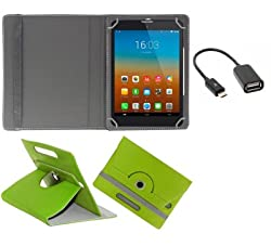 Gadget Decor (TM) PU LEATHER Rotating 360° Flip Case Cover With Stand For Lenovo Idea Tab A1000 Tablet + Free OTG Cable -Green