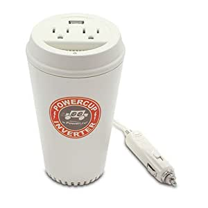 Powerline By Original Power 0900-66 200-Watt Coffee Cup Inverter with USB Charging Port and Two Outlets (Discontinued by Manufacturer)
