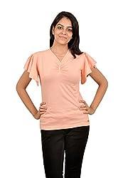 Baboon Women's Baloon Sleeve Top (baboon-9_Peach Orange _Large)