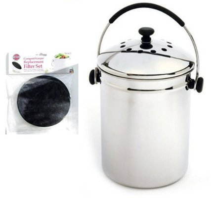 Norpro GRIP-EZ Stainless-Steel Composter Keeper with 2-pc. Replacement Filter Set
