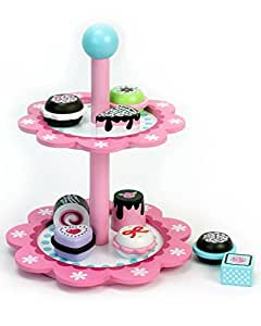 Sophia's Childrens Wooden Play & Pretend Food Set, Cupcake Stand with Desserts Set! Wood Play Food Desserts