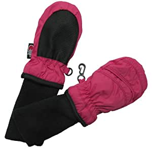 SnowStoppers Kid's Nylon Waterproof Snow Colorful Mittens (Fuchsia, X-Small)