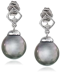 10k White Gold Black Tahitian Cultured Pearl with Diamond Accent Earrings (0.02 Cttw, H-I Color, I2-I3 Clarity)