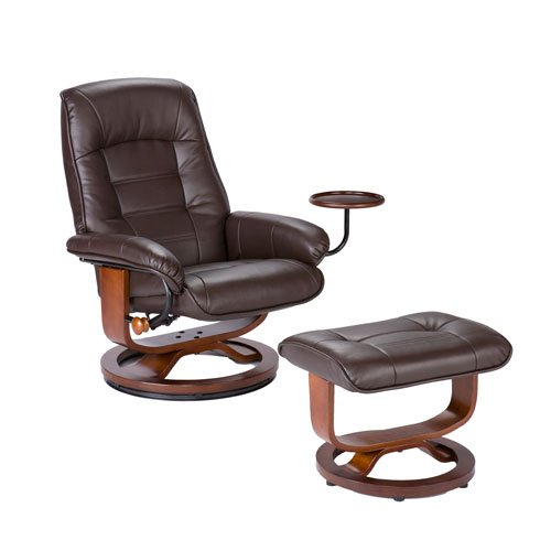 Southern Enterprises Leather Recliner with Side Table and Ottoman, Cafe Brown