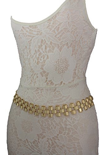 TFJ Women Fashion Belt Wide Mesh Metal Chain Thick Strand Hip High Waist Gold S M L
