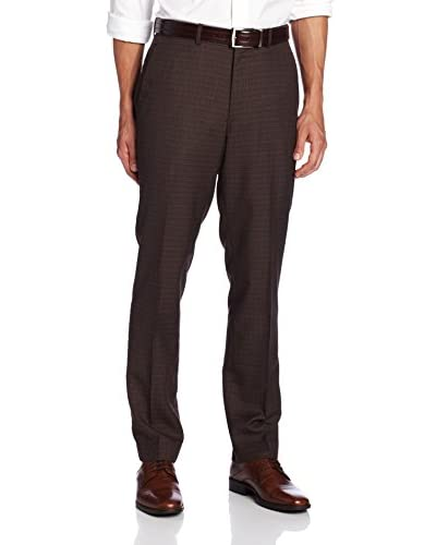 Perry Ellis Men's Flat Front Slim Fit Tonal Box Check Pant  [Major Brown]