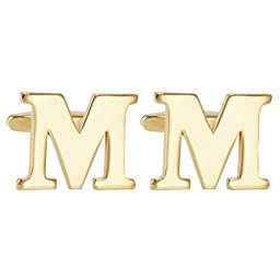 Salutto Men\'s Gold Letter M Cufflinks 1 Pair with Gift Box (M)