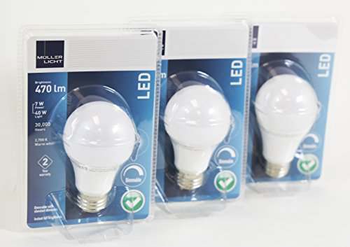 3 Pack Led Light Bulb Dimmable 7 Watt (40W) A19, Warm White