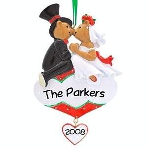 Kissing Wedding Couple 1st Christmas Personalized Christmas Ornament