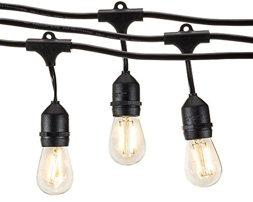 Quality Outdoor String Lights : Outdoor String Lights with LED S14 Bulbs by Deneve Garden Hanging Market Patio Cafe Heavy Duty ...