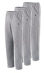 Champion P2469 Men\'s Open Bottom Fleece Sweatpant - Oxford Gray 3 Pack - Small