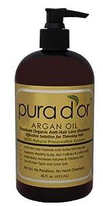 Premium Organic Pure Argan Oil Anti-Hair Loss Shampoo by Pura d'or (Gold Label), 16 Fluid Ounce