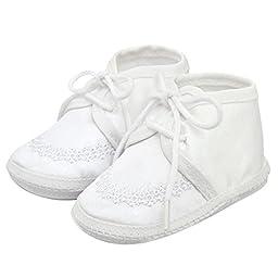 King Bear Unisex Baby\'s Satin lace Christening Baptism Prewalker Shoes /Slippers size 0-3 months