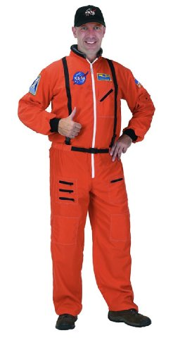 Original Orange Adult Astronaut Costume with Cap (Helmet NOT included)