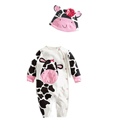 Flowerbb Baby Girl's 2 Set in 1 Cartton Cow Bodysuit+ Hat 41