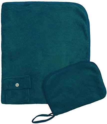 Simplicity Foldable Travel Sleep Nap Pillow Blanket Set for Air Car Train, Green