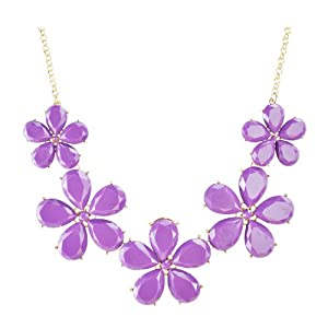 Jane Stone Fashion Floral Purple Necklace Candy Style Flower Necklaces Statement Bib Jewelry Simple Modern Necklace Wedding Party Necklace Evening Jewellery(Fn0834-Purple)
