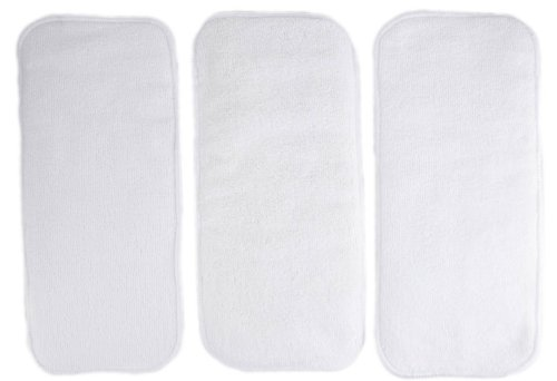 "3 Pack 100% Microfiber Inserts for Cloth Diapers Reusable Washable Large 14"" X 5"""