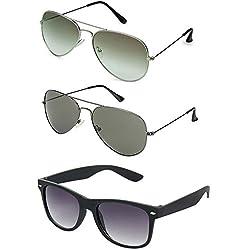 Rhodopsin UV Protected Green Aviator , Grey Aviator and Black Wayfarer Sunglasses for Men and Women (3_Sil_Green_and_Grey_Avt_Black_Way)