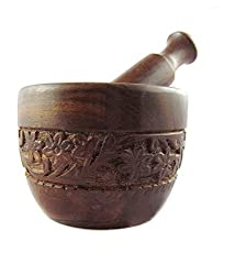 Onlineshoppee Brown Wood Kitchen Tool Set (Wood Carved Pestle And Mortar)