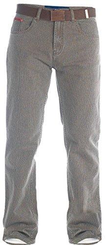 Duke Herren Jeans Comfort Straight Fit Extra Hoch Schrittlänge 35 36 37 38 - Herren, Bedford Kabel - Braun, 40W x 37L