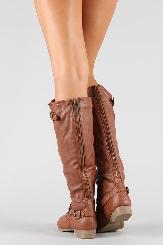 Top Moda Coco-1 Buckle Riding Knee High Boots with Back Zippers Black or Tan (8, Tan)