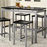 Coaster 5-Piece Metal Dining Set with 4 Barstools, Silver/Black