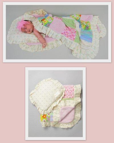 Designer Baby Blanket & Pillow Patchwork Gift Set for Girls - Unique Baby Shower Gifts