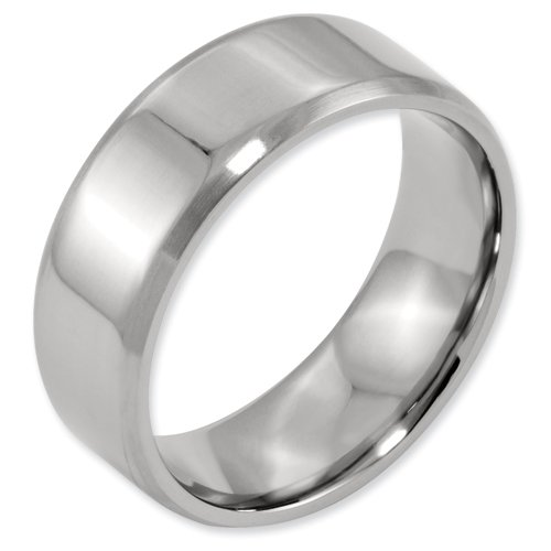 Titanium Beveled Edge 8mm Brushed and Polished Band Ring Size 5.5 Real Goldia Designer Perfect Jewelry Gift for Christmas