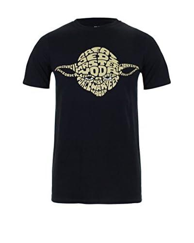 Star Wars Camiseta Manga Corta Yoda Text Negro