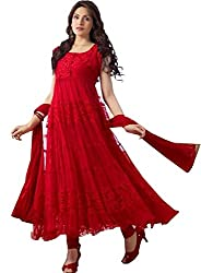Lakshmi Fashion Creation Women's Brasso Dress Material ( Red )
