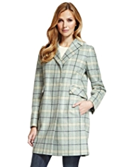 M&S Collection Wool Blend Checked Coat