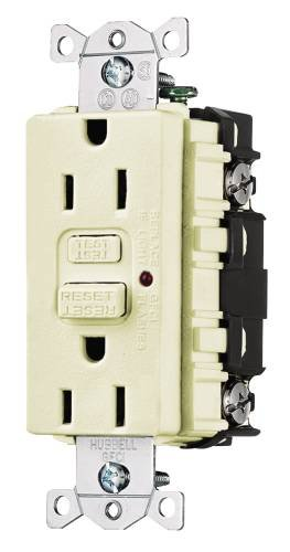 Hubbell Wiring 606197 Gfci 15A Comm Led Ivory