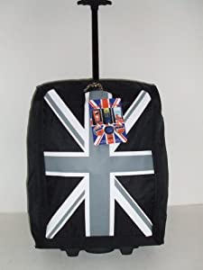 Jazzi Black Union Jack 2 Wheeled Super Lightweight Hand Luggage Holdall Cabin Bag Suitable For Easy Jet Jet2 Ryanair Monarch First Choice British Airways Thompson from Jazzi Onboard