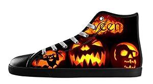 Custom Women's Halloween Pumpkin Canvas Shoes High-Top Black Rubber Casual Lace-up Soft Inner Sneaker-10M(US)