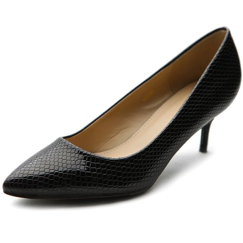 Ollio Women'S Shoe Snakeskin D'Orsay Pointed Toe Multi Color Pump(10 B(M) Us, Black)