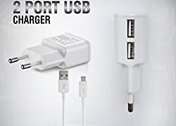 HTC EVO Design 4G Compatible Dvaio Charger - Dual USB, 2AMP AC Power Dvaio Charger - White