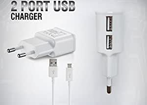 AT Shopping HTC HD2 Compatible Charger - Dual USB, 2 AMP AC Power Charger - White