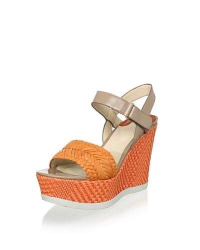 Joan & David Women's Idona Platform Wedge Sandal  - Light Orange/Tan