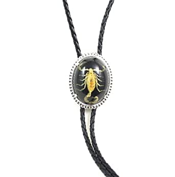 : Scorpion (Real) Silver Plated Bolo Tie ~ Black Background: Clothing