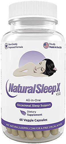 Natural Sleep X - The All-In-One Natural Sleep Aid (Extra Strength Natural Sleeping Pills For Adults With Melatonin, 5-Htp, Herbal Extracts, Vitamins, Minerals And Amino Acids) - 60 Clear Vegetarian Capsules