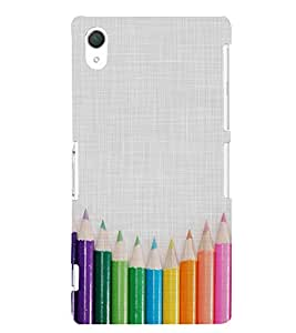 CLOURFULL PENCILS ON A CLOTH PIC 3D Hard Polycarbonate Designer Back Case Cover for Sony Xperia Z2 :: Sony Xperia Z2 L50W D6502 D6503