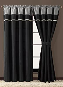 Blaine Black And Grey Curtain Set Window Treatment Curtains