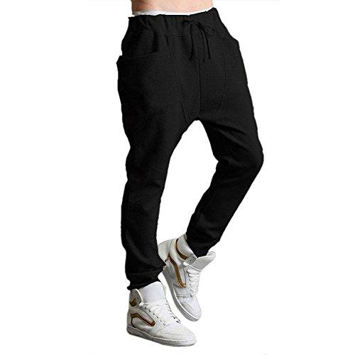 SODIAL(R)Uomo donna Pantaloni Harem Casual Hip Hpo Danza Pantaloni tubo ( nero ) - XL