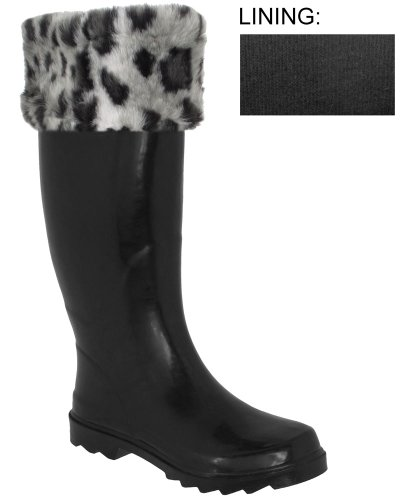 Capelli New York Leopard Faux Fur Cuff Ladies Tall Sporty Body Rubber Rain Boot Grey Combo 10