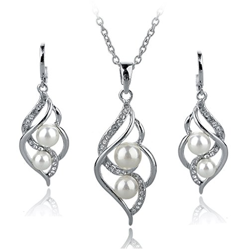 Long Way Crystal Necklace Drop Earrings Set Pearl Jewelry Set Wedding Jewelry For Women