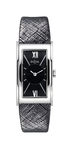 Davosa Women's Quartz Watch with Black Dial Analogue Display and Black Leather Strap 16755555