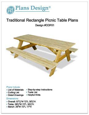 Traditional Rectangle Picnic /Garden Table Woodworking Plans, #Odf01 back-770034