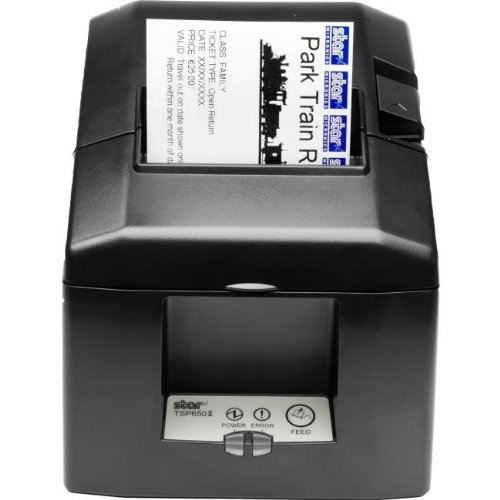 Receipt printer with Ethernet or Bluetooth interface, external power supply, and auto cutter.