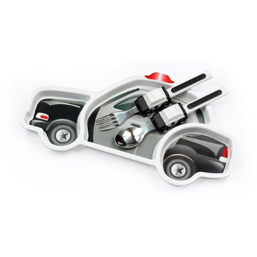 Urban Trend Funwares Police Car Dinner Set: Kids Dishwasher Safe Dining Plate and Utensils - 1